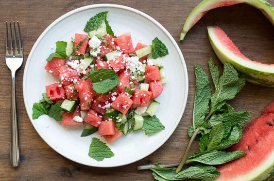 Watermelon Salad with Fresh Mint and Crumbled Feta