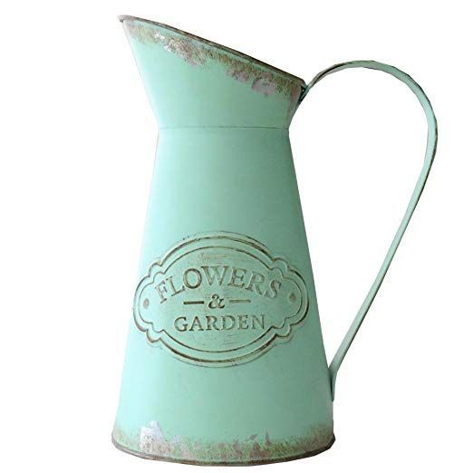 Shabby Chic Rustic Style Farmhouse Metal Jug Pitcher Flower Vase Watering Can Home Garden Decoration Tall Buy It Now F Rustic Style Flower Vases Vase
