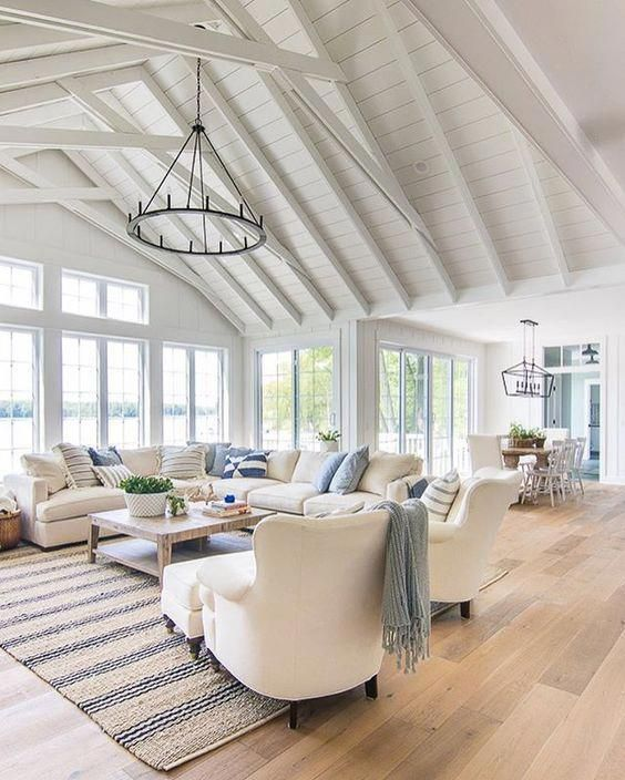 Coastal Living Rooms Houzz Vaulted Ceiling Living Room Summer