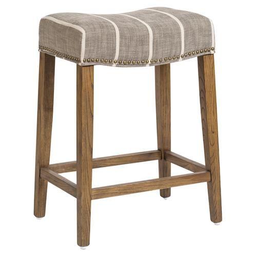 Solen Modern White Striped Grey Upholstered Wood Saddle Counter Stool Counter Stools Saddle Bar Stools Stool