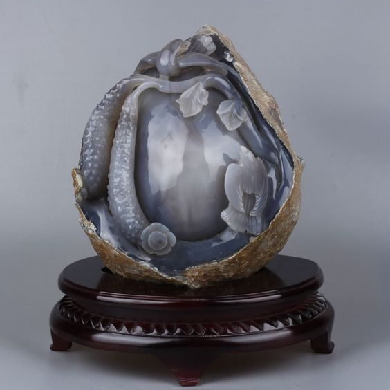 16.53 lbs Large natural agate water tank hand-carved birds and flowers statue