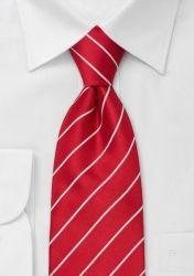Lange Mikrofaser-Krawatte rot/weiß günstig kaufen