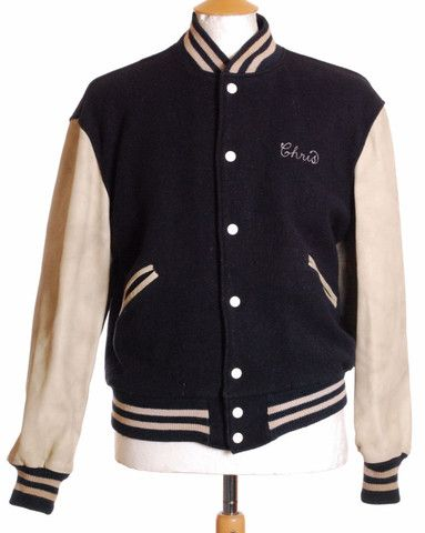 Vintage 1980s blue wool leather sleeve varsity baseball jacket ...