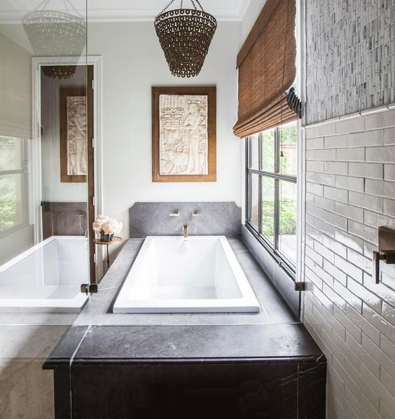 Soapstone and brass accents. Love the combination of materials and tones!