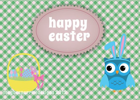 Bunny Owl Easter Printable Card  Digital by MaybeSparrowDesigns, $6.00