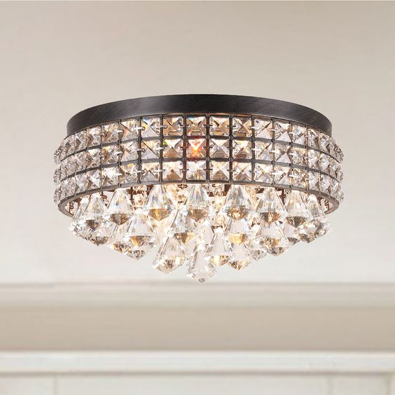 Jolie Iron Shade Crystal Flush Mount Chandelier By The Lighting Store Beaut