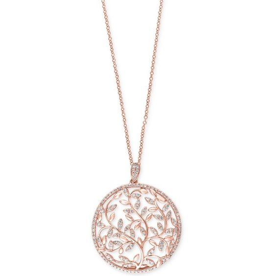 Effy Diamond Vine Pendant Necklace (9/10 ct. t.w.) in 14k Rose Gold ($2,730) ❤ liked on Polyvore featuring jewelry, necklaces, rose gold, red gold necklace, 14 karat gold necklace, leaf necklace, rose gold jewelry and pendants & necklaces