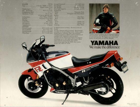1986 Yamaha FZ750. Advertising.