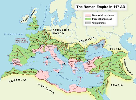 The Roman Empire reached its greatest size under the reign of Trajan in 117 AD. To aid in administration, it was divided into provinces. The number of provinces changed over time as territories were gained or lost, and as larger provinces were divided into smaller ones. There were 46 provinces under Trajan, a figure that would grow to 96 by the reign of Diocletian (285-305).