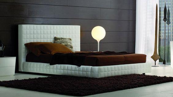modern white leather platform bedroom design
