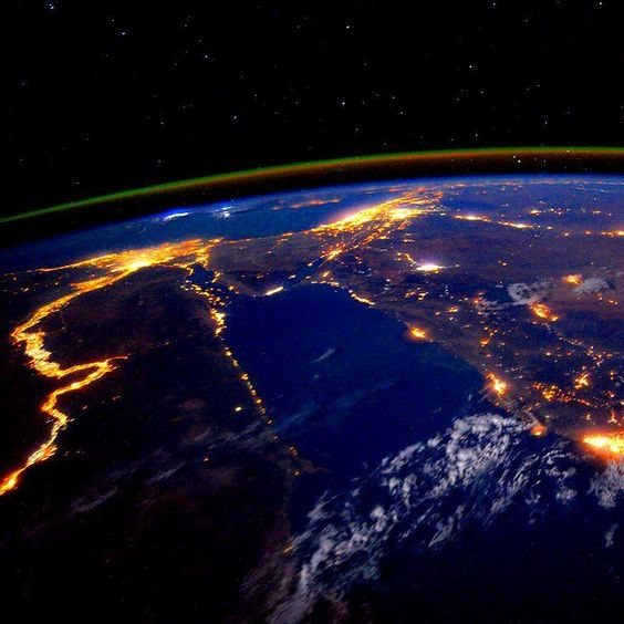 """@NASA Image of the Day: The Nile at Night  NASA astronaut Scott Kelly recently past the halfway mark of his one-year mission to the International Space Station photographed the Nile River during a nighttime flyover on Sept. 22 2015. Kelly (@StationCDRKelly) wrote """"Day 179.  The #Nile at night is a beautiful sight for these sore eyes.  Good night from @space_station! #YearInSpace."""" September 25 2015  What do you think of this beautiful earth image?  Tag a friend to share!  #InsprMe #Earth…"""