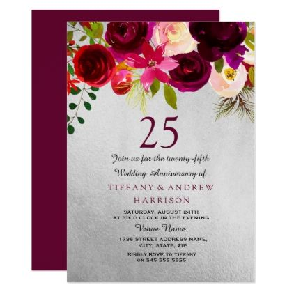 Silver Burgundy Floral 25th Wedding Anniversary Invitation