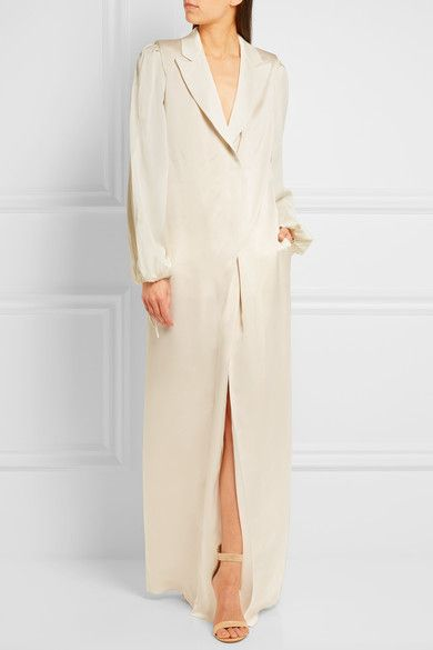 Ivory washed-twill and satin Concealed zip along back Fabric1: 100% viscose; fabric2: 58% viscose, 42% acetate Specialist clean Designer color: Shell Made in France