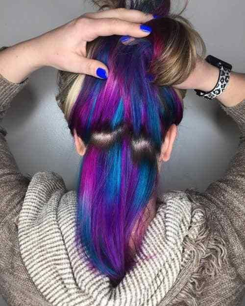 Wine Purple And Blue Hidden Under Hair Color Underneath Under Hair Color Under Hair Dye