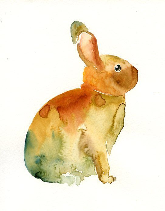 Bunny by Dimdi, Original watercolor painting, 8X10inch. $35 on Etsy.