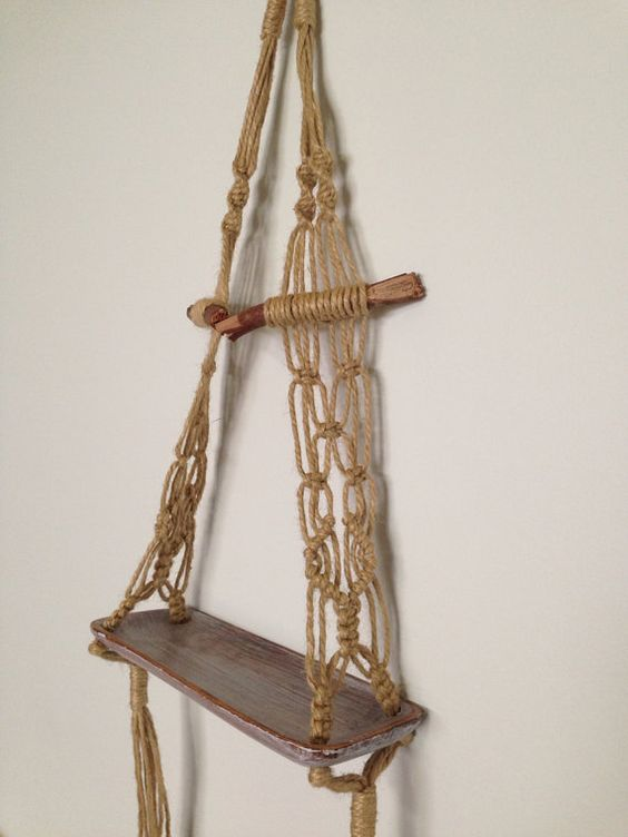 Hanging macrame shelf | Macrame, Shelves and Shops