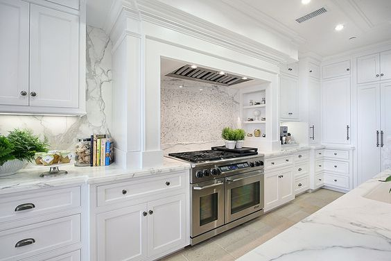 Cabinetry, range nook, marble: