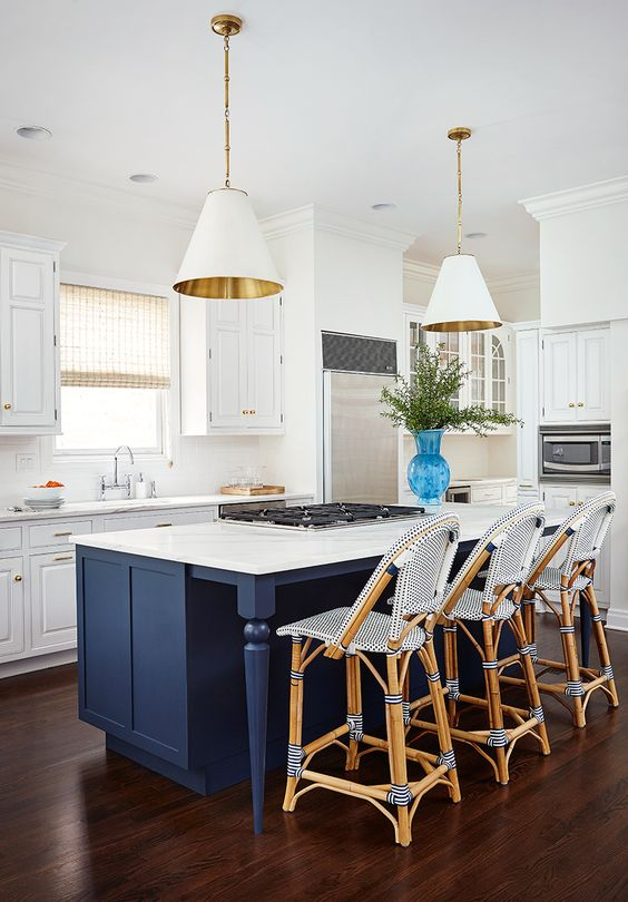 White Kitchen Painted Navy Blue Island Gold White