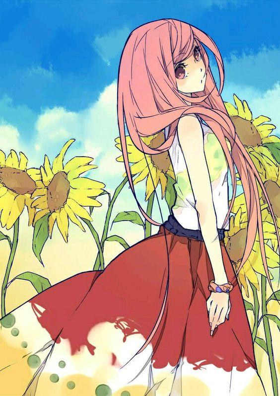 anime girl + sunflowers <3