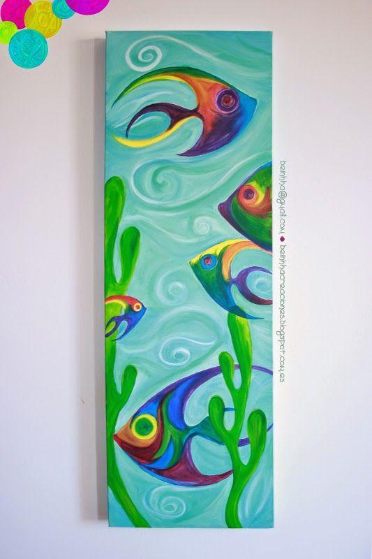 Acr lico sobre lienzo 30 x 90 cm peces con amor y color - Cuadros con peces ...