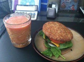 Turkey burger with Strawberry, mango, & grape juice
