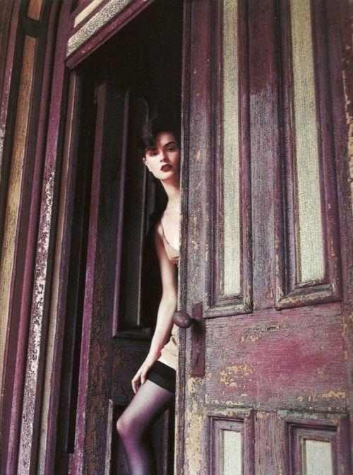 thedoppelganger:    Sweet NothingsMagazine: Vogue UK October 2000Photographer: Nathaniel GoldbergModel: Anouck Lepère