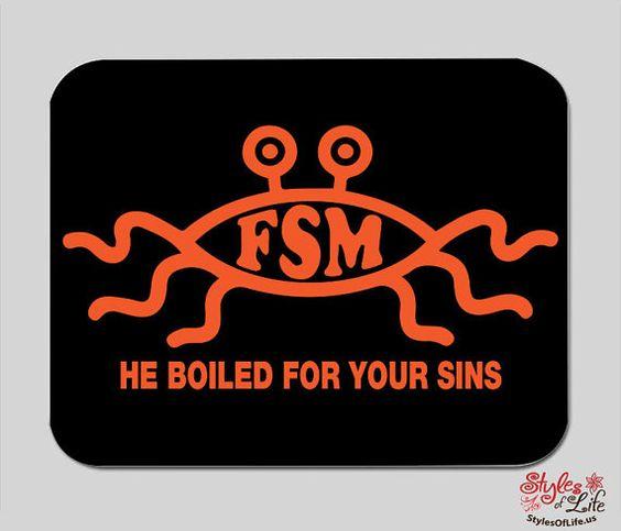 Flying Spaghetti Monster FSM Computer Mousepad