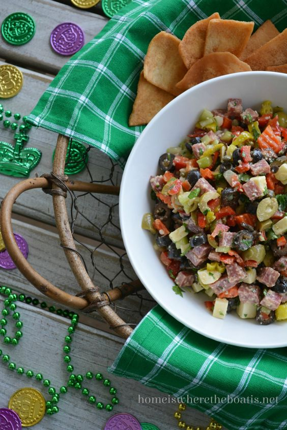 Muffaletta Dip for Mardi Gras | Home is Where the Boat Is