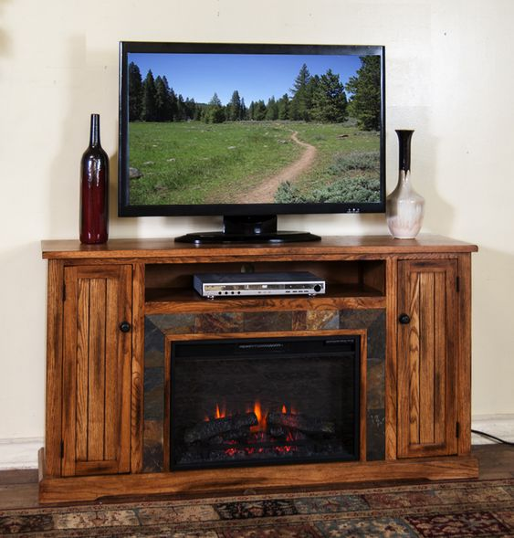 Sd 3488ro 60r 60 Quot Sedona Rustic Oak Fireplace Tv Stand