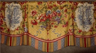 French Country Valance Patterns | Layered Scalloped VALANCE French Country Waverly Red Gold Toile Stripe ...