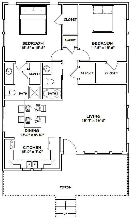 30x40 House 2 Bedroom 2 Bath 1 136 Sq Ft Pdf Floor Plan Instant Download Model 1 Metal House Plans Small House Floor Plans 30x40 House Plans