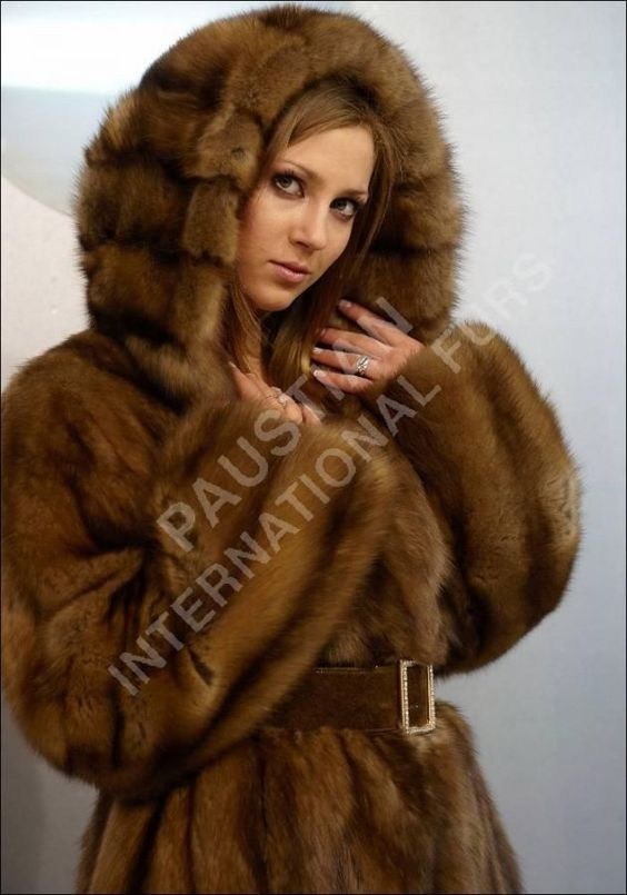 hooded sable fur coat