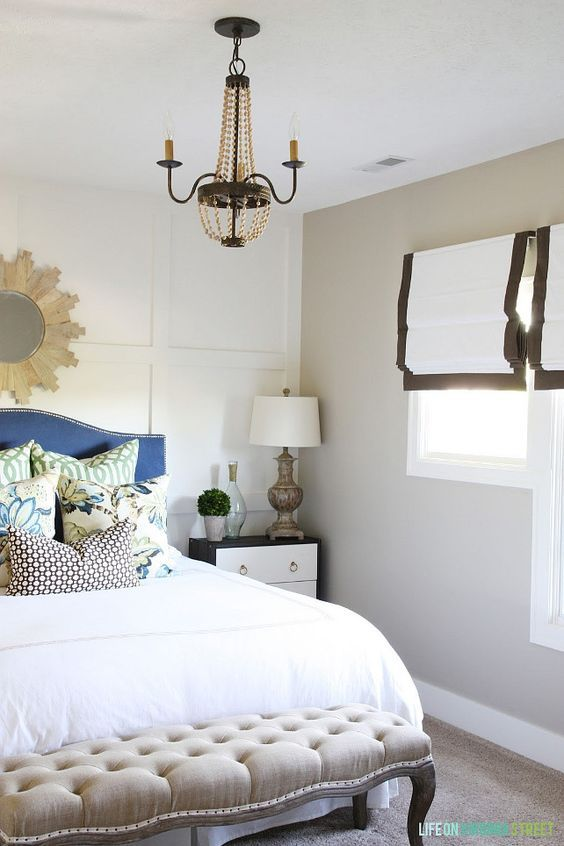Two Tone Bedroom Paint Color. Walls = Castle Path by Behr, Board and Batten = Swiss Coffee by Behr Two Tone Bedroom Paint Color.  #BehrSwissCoffee #BehrCastlePath   Via Life on Virginia Street.: