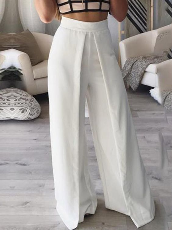 Ericdress White Wide Leg Women's Pants #fashion #trends #outfits