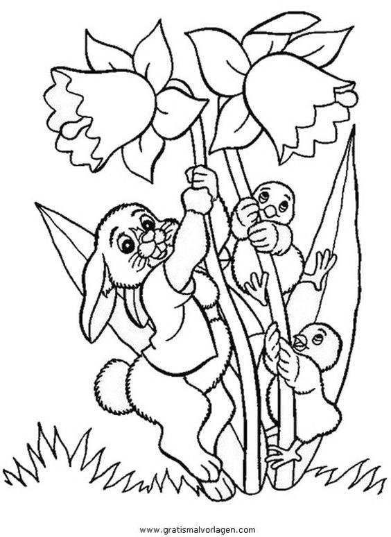 Osterblumen 2 In Natur Gratis Malvorlagen Easter Colouring Art Drawings