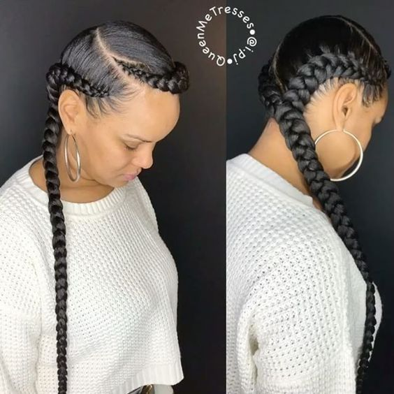 5 Ways To Wear The Two Braid Cornrow Style Everyone S Rocking Un Ruly Cornrow Hairstyles Feed In Braids Hairstyles Two Braid Hairstyles