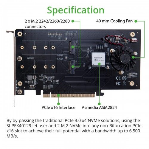 216 X2 M 2 Nvme Pcie 3 0 X16 Bifurcation Riser Controller