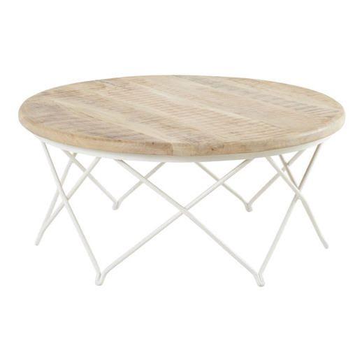 Table basse decoclico promo table basse ronde en manguier naturel et fer blanc biarritz hanjel - Table basse en manguier ...