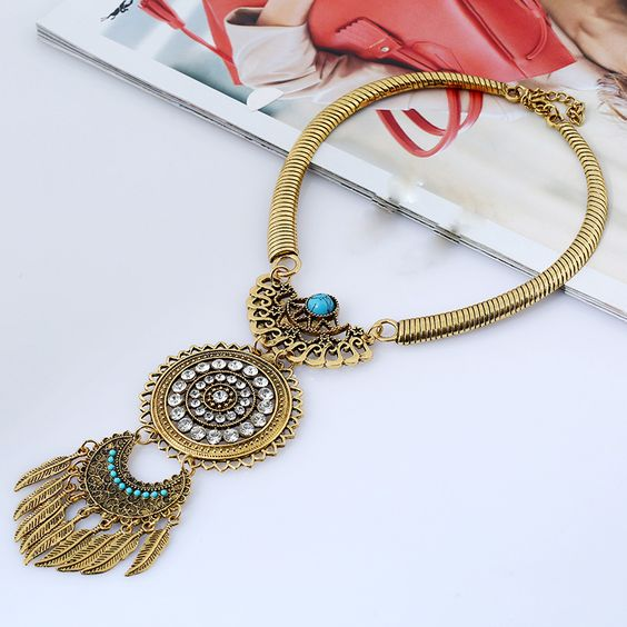 Bohemian Ethnic Crystal Statement Necklace 2017 Women Exaggerating Vintage Leaf  Tassel Choker Necklace Collier Collares