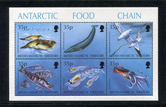 BAT 230 MNH Antarctic Food Chain 1994: Crab-eater seals, Blue whale, Wand x18771