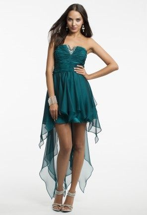 Short Strapless Hanky Hem Dress with Beading from Camille La Vie and Group USA