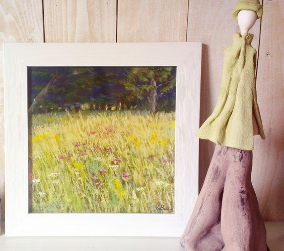Wild flowers field.  soft pastels painting