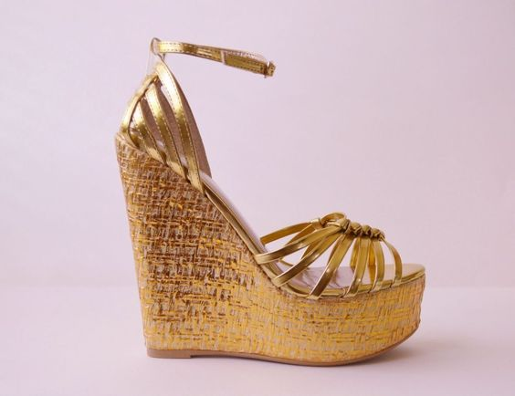 Florence Gold Metallic Wedge Sandals #Unbranded #OpenToe