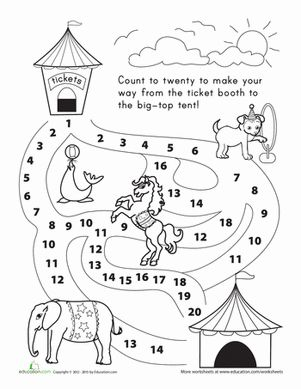math worksheet : counting 1 20 let s go to the circus!  kindergarten counting  : Number Counting Worksheets For Kindergarten