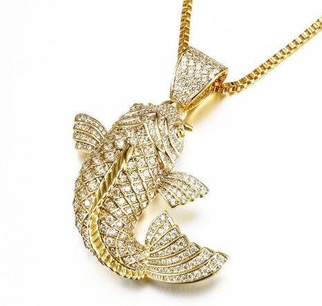 24k gold koi fish pendant and koi fish necklace