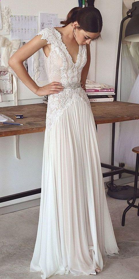 Customized V Neck Lace Wedding Dress Simple White Satin Bridal