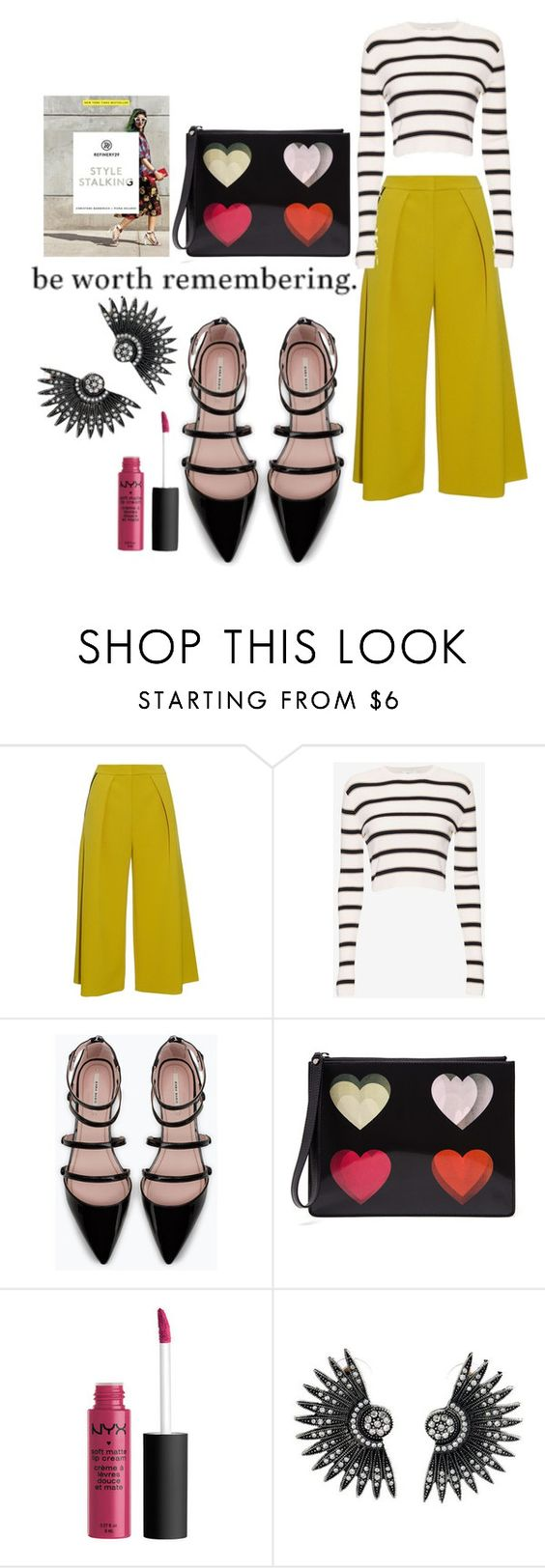 """Worth Remembering"" by katthecatlady ❤ liked on Polyvore featuring Roksanda, A.L.C., Zara, Christopher Kane, yellow, mustard, nyx, culottes and anklewrapflats"