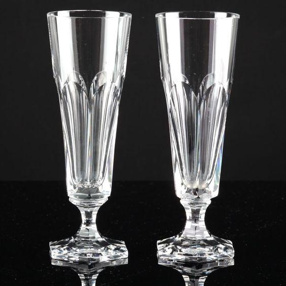2 Vintage Sektgläser Josephinenhütte alte Kristall Gläser Sektkelch Sektglas K93
