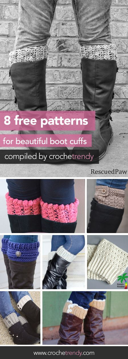 8 Beautiful Boot Cuff Crochet Patterns | Free crochet patterns via Crochetrendy.com