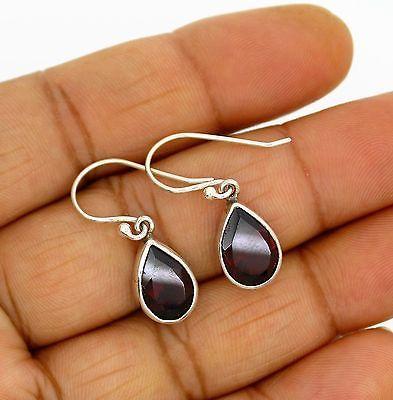 garnet earrings Silver 925 Sterling Jewelry Natural Gemstons Handmade 3.2 gm